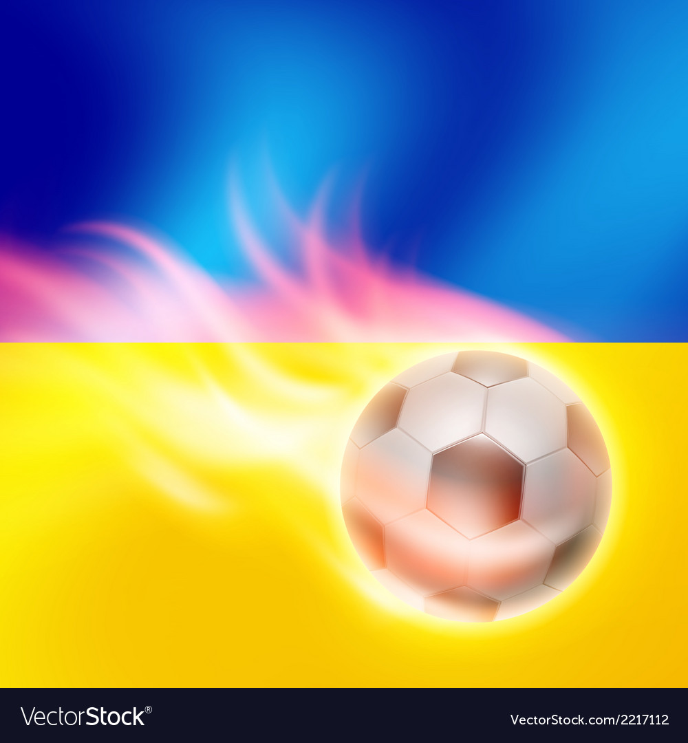 Burning football on ukraine flag background vector | Price: 1 Credit (USD $1)