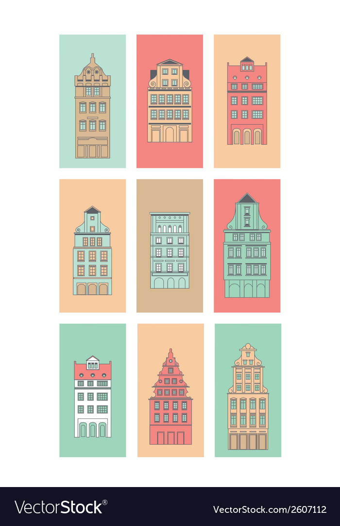 European houses set vector | Price: 1 Credit (USD $1)