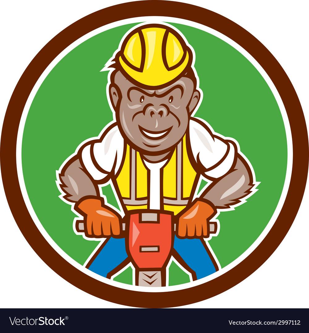 Gorilla construction jackhammer circle cartoon vector | Price: 1 Credit (USD $1)