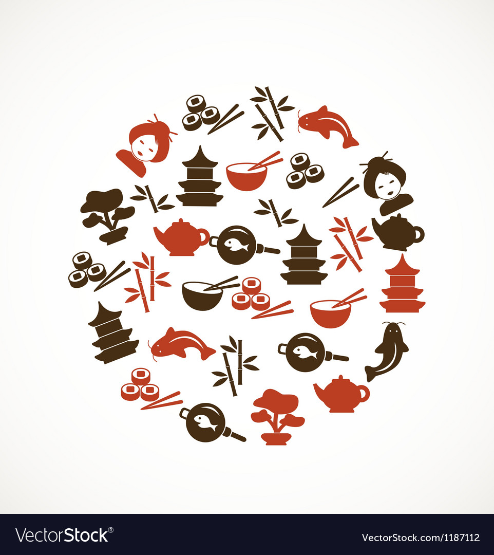 Japanese culture icons vector | Price: 1 Credit (USD $1)