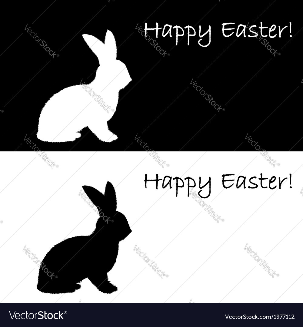 Monochrome silhouette of an easter bunny vector | Price: 1 Credit (USD $1)
