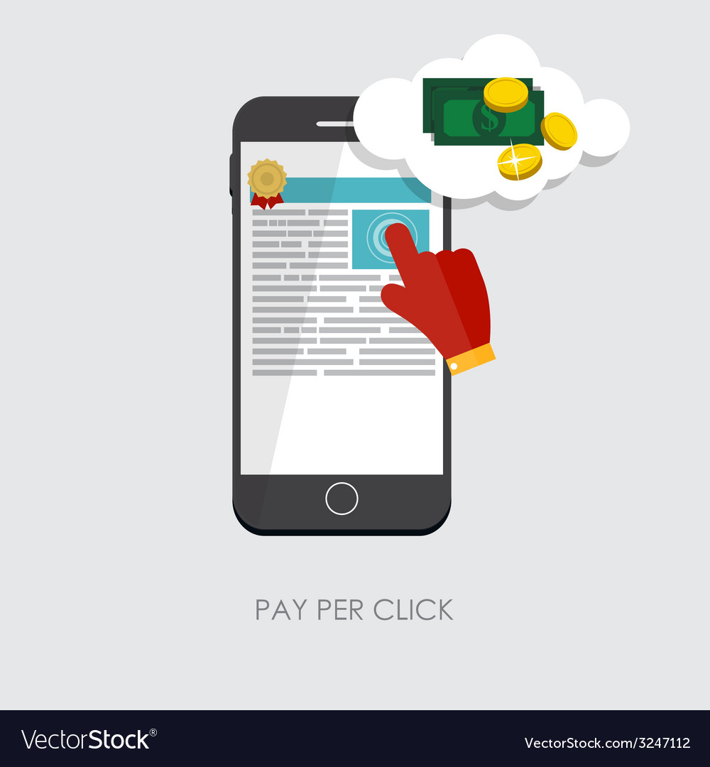 Pay per click flat concept for web marketing vector | Price: 1 Credit (USD $1)