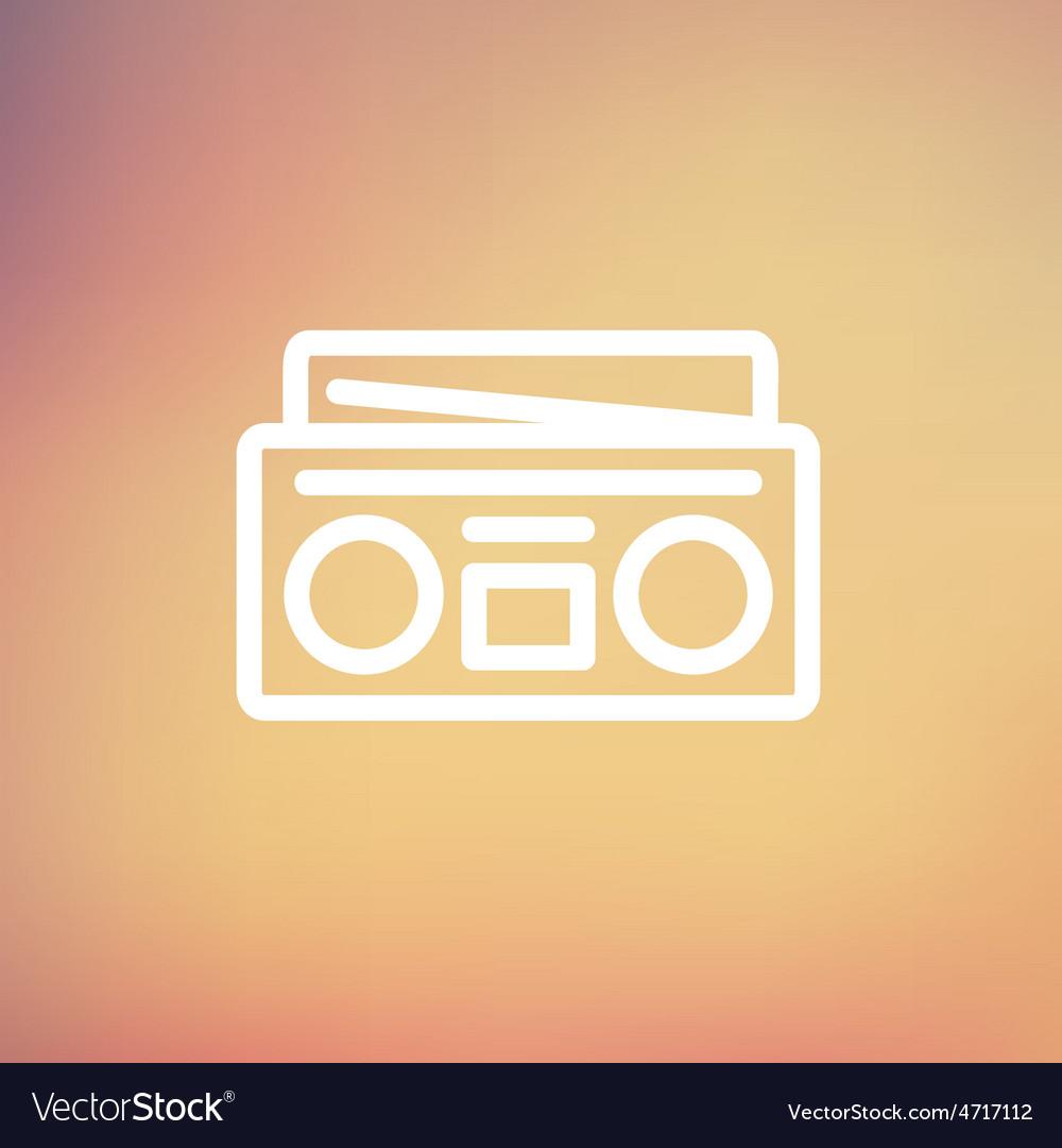 Radio cassette player thin line icon vector | Price: 1 Credit (USD $1)