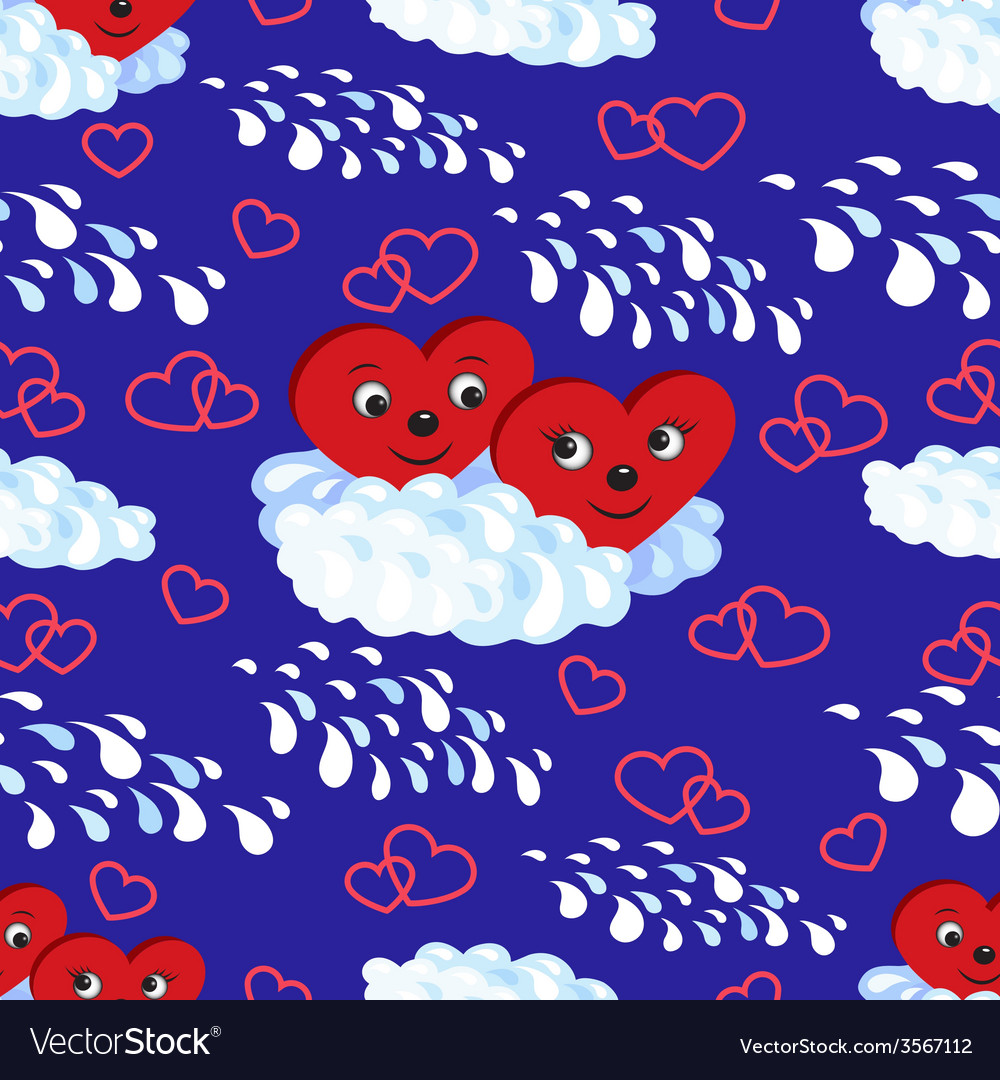 Seamless pattern the hearts on a cloud vector | Price: 1 Credit (USD $1)
