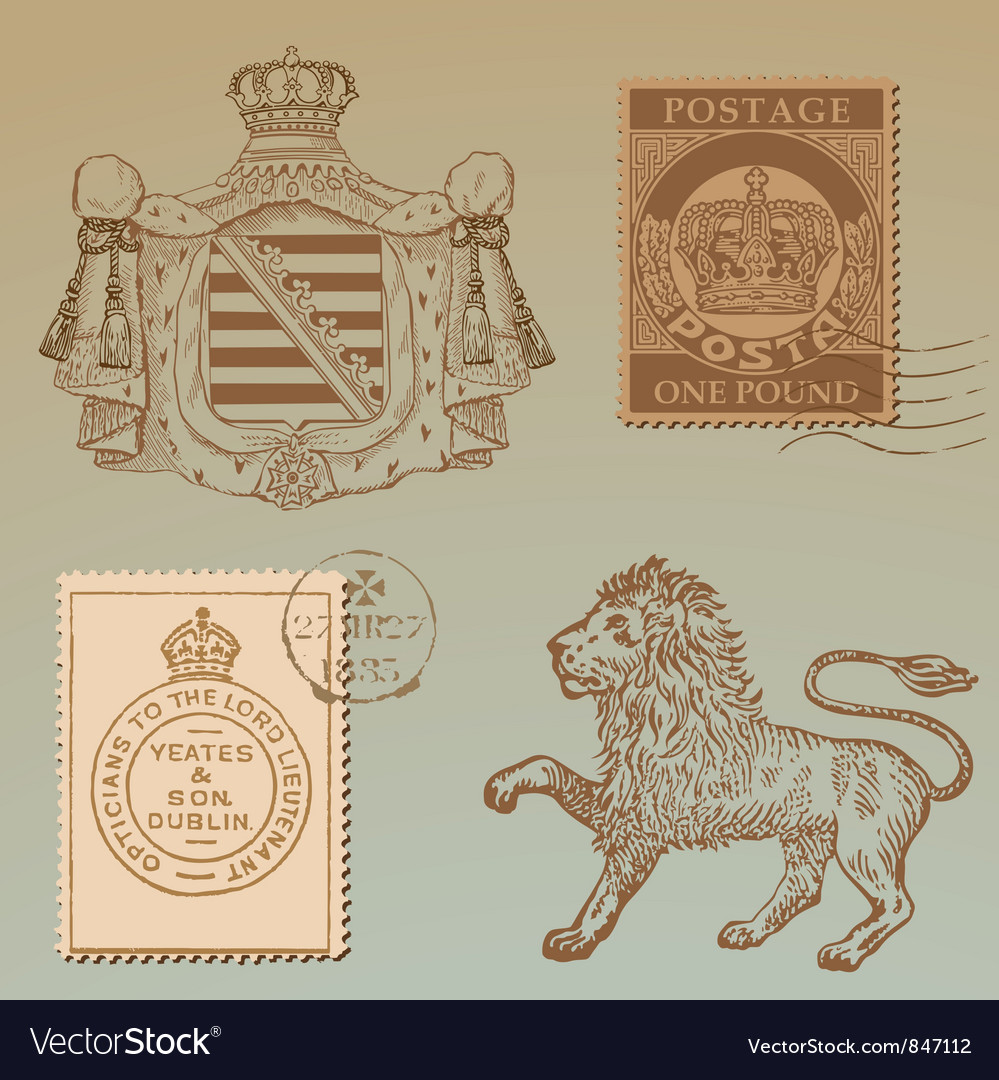 Set of vintage royalty design elements vector | Price: 1 Credit (USD $1)