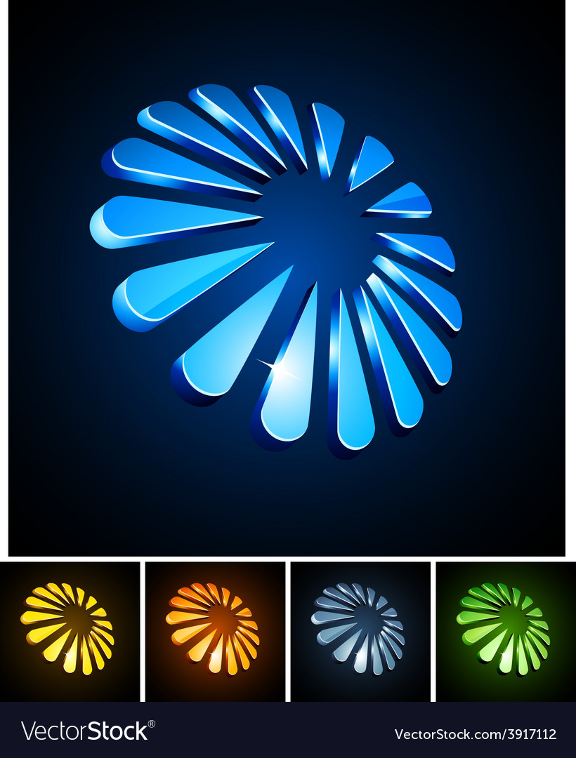 Snowflake vibrant emblems vector | Price: 1 Credit (USD $1)