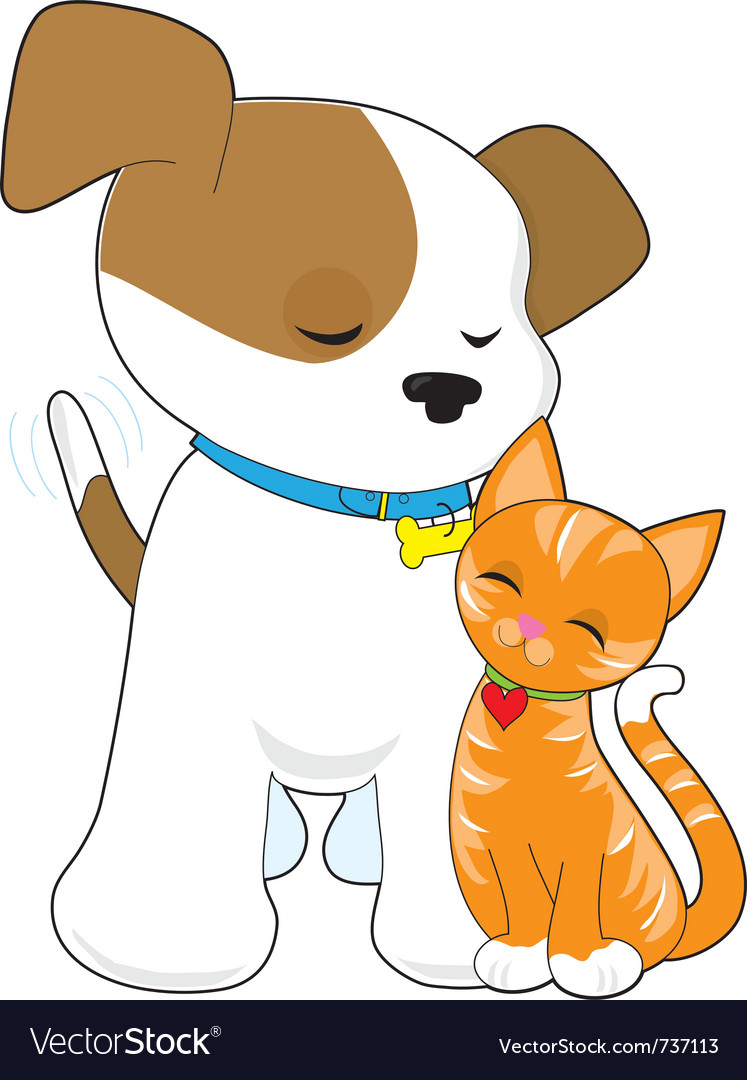 Cute puppy and cat vector | Price: 1 Credit (USD $1)