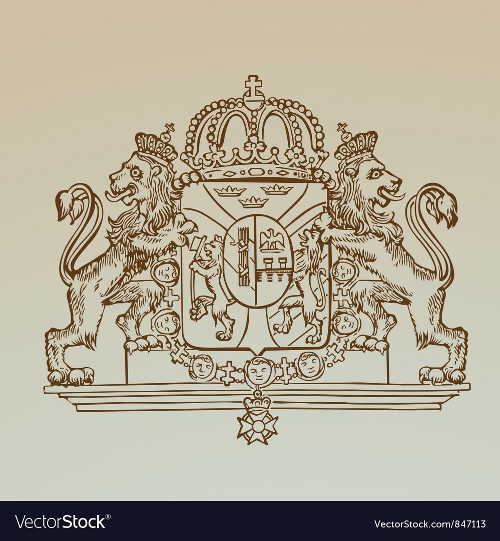 Detailed vintage royalty emblem vector | Price: 1 Credit (USD $1)