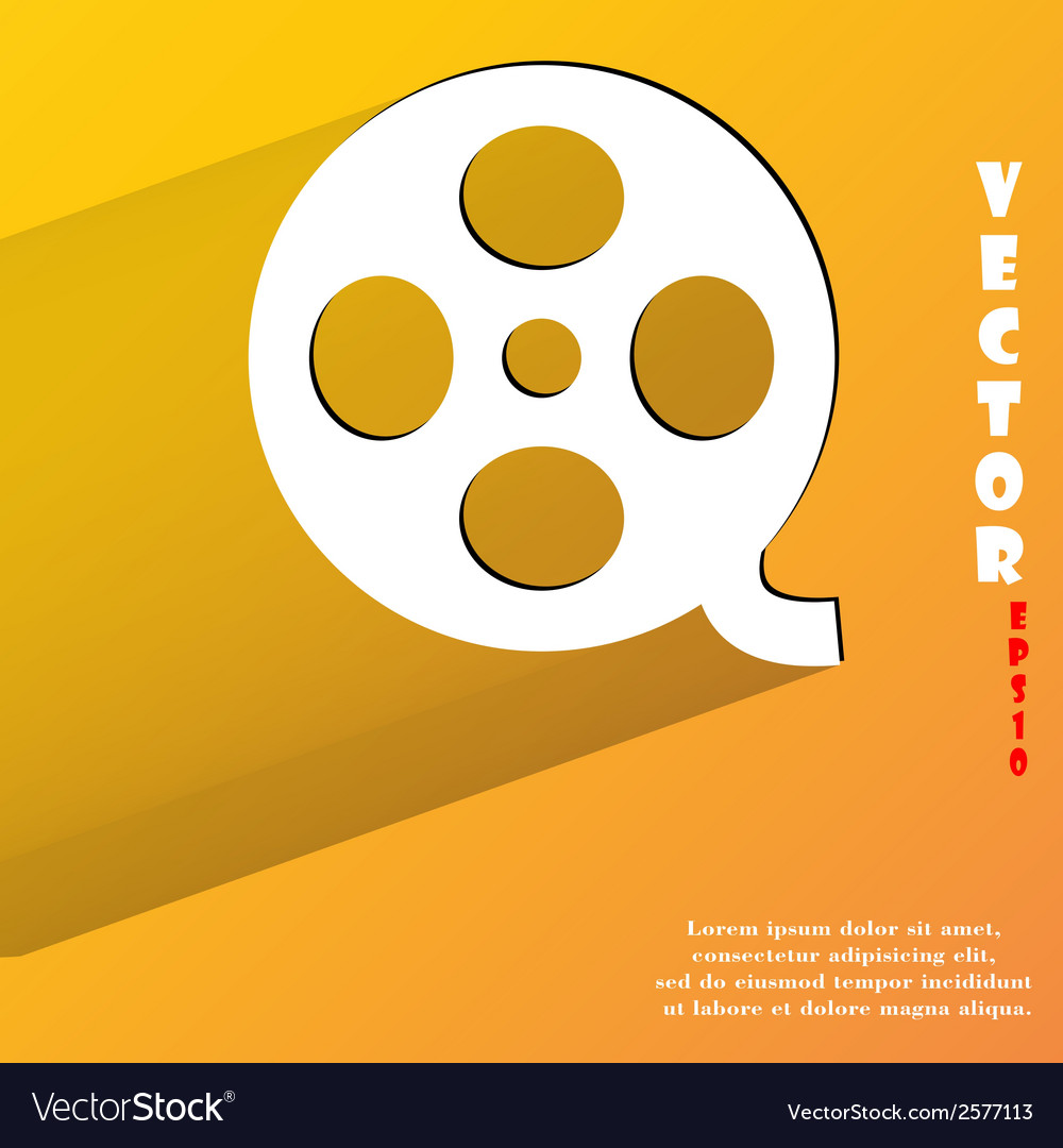 Film flat modern web button with long shadow and vector | Price: 1 Credit (USD $1)