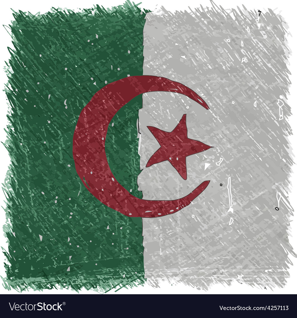 Flag of algeria handmade square shape vector | Price: 1 Credit (USD $1)