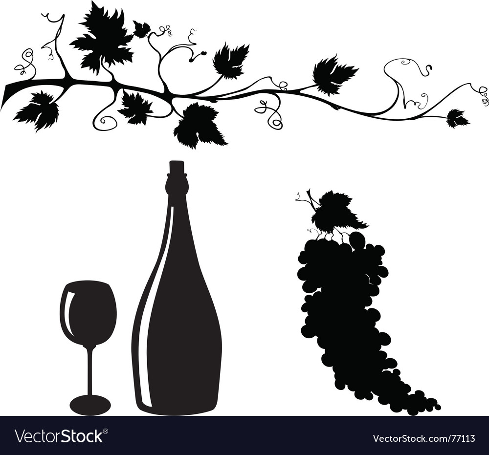 Grape and wine silhouettes set vector | Price: 1 Credit (USD $1)