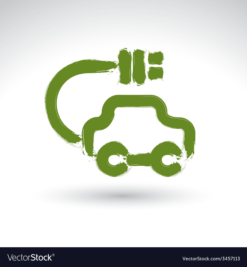 Hand drawn green eco car icon brush drawing vector | Price: 1 Credit (USD $1)