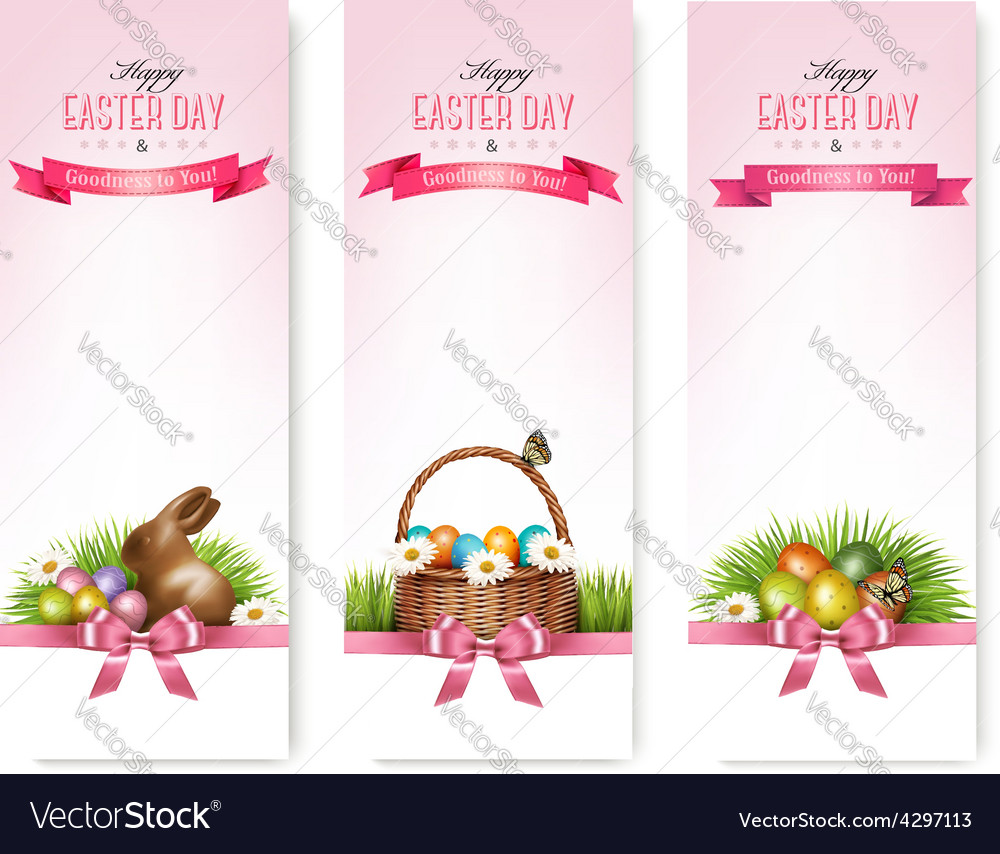 Happy easter banners colorful easter eggs and vector | Price: 1 Credit (USD $1)