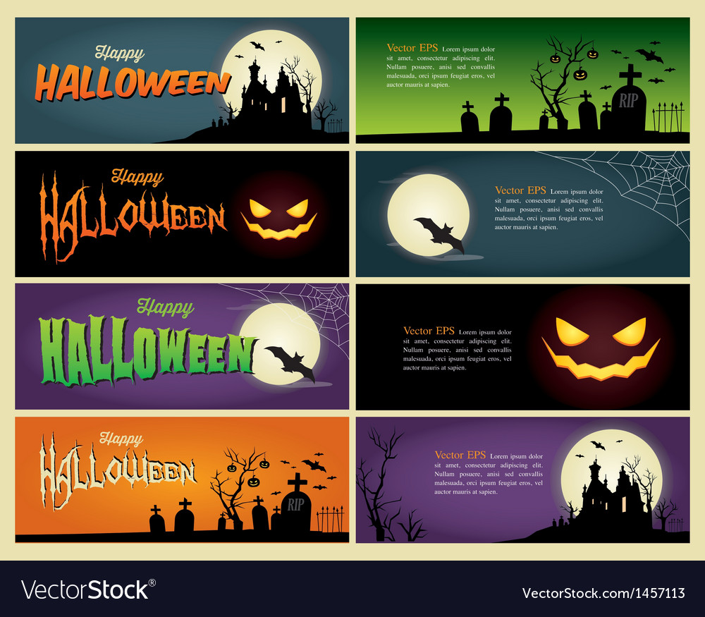 Happy halloween set banner vector | Price: 3 Credit (USD $3)