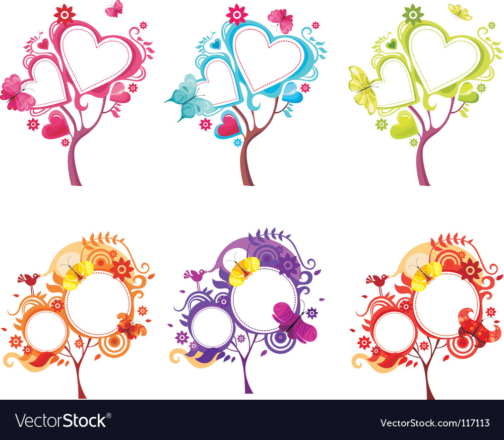 Heart tree set vector | Price: 1 Credit (USD $1)