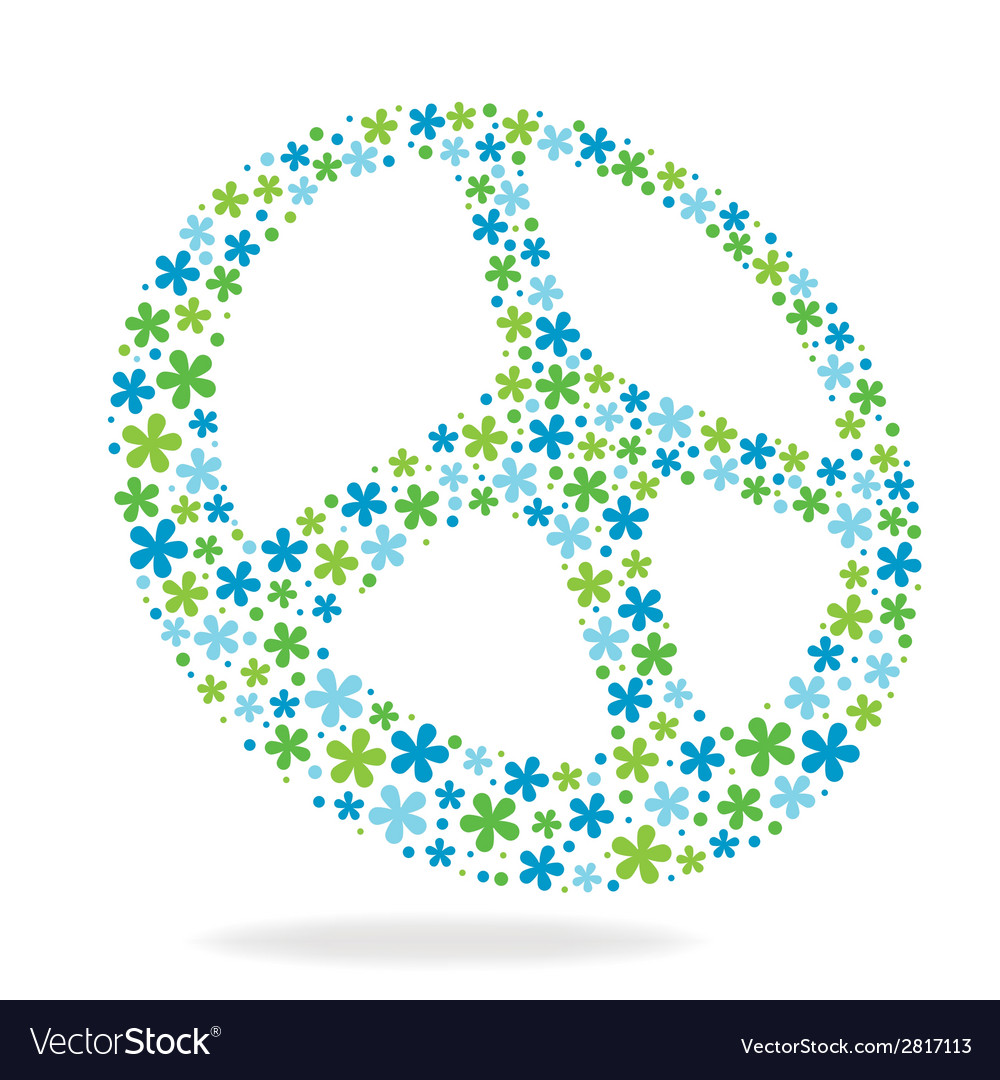 Peace sign made of flowers vector | Price: 1 Credit (USD $1)