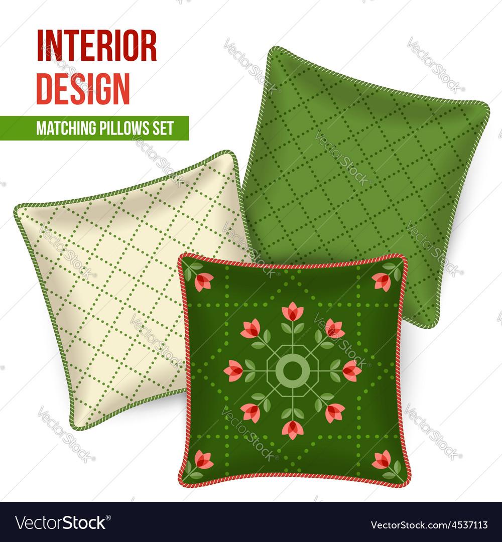 Set of decorative pillow vector | Price: 1 Credit (USD $1)