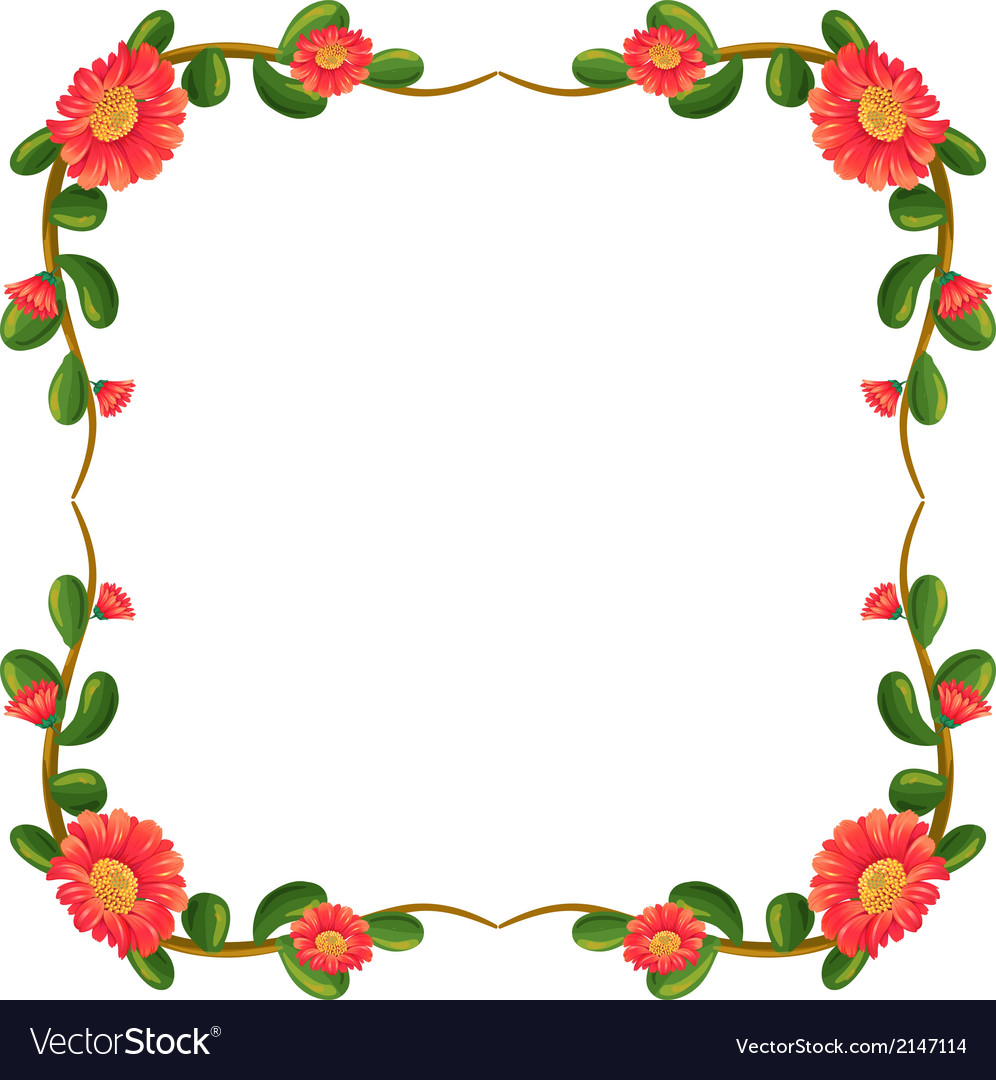 A floral border with orange flowers vector | Price: 1 Credit (USD $1)