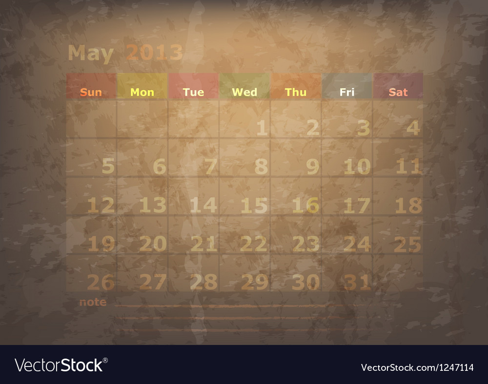 Antique calendar of may vector   Price: 1 Credit (USD $1)