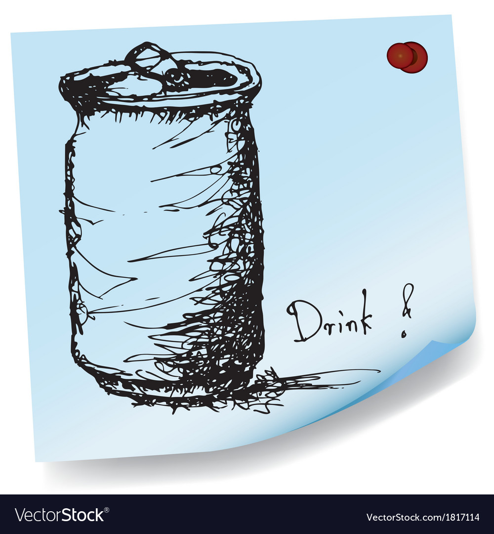 Drawing of soda can on sticky paper vector | Price: 1 Credit (USD $1)