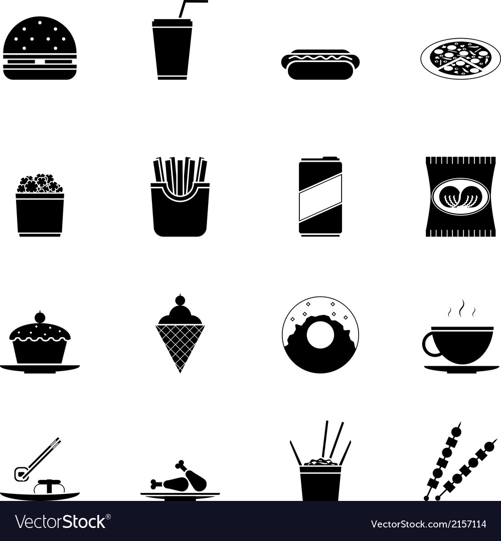 Fast food icons and symbols silhouette set vector | Price: 1 Credit (USD $1)