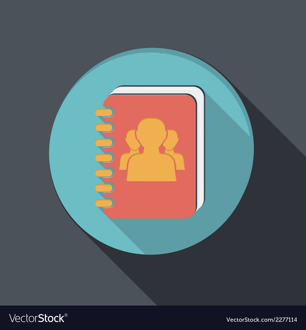 Flat icon with a shadow phone address book vector | Price: 1 Credit (USD $1)
