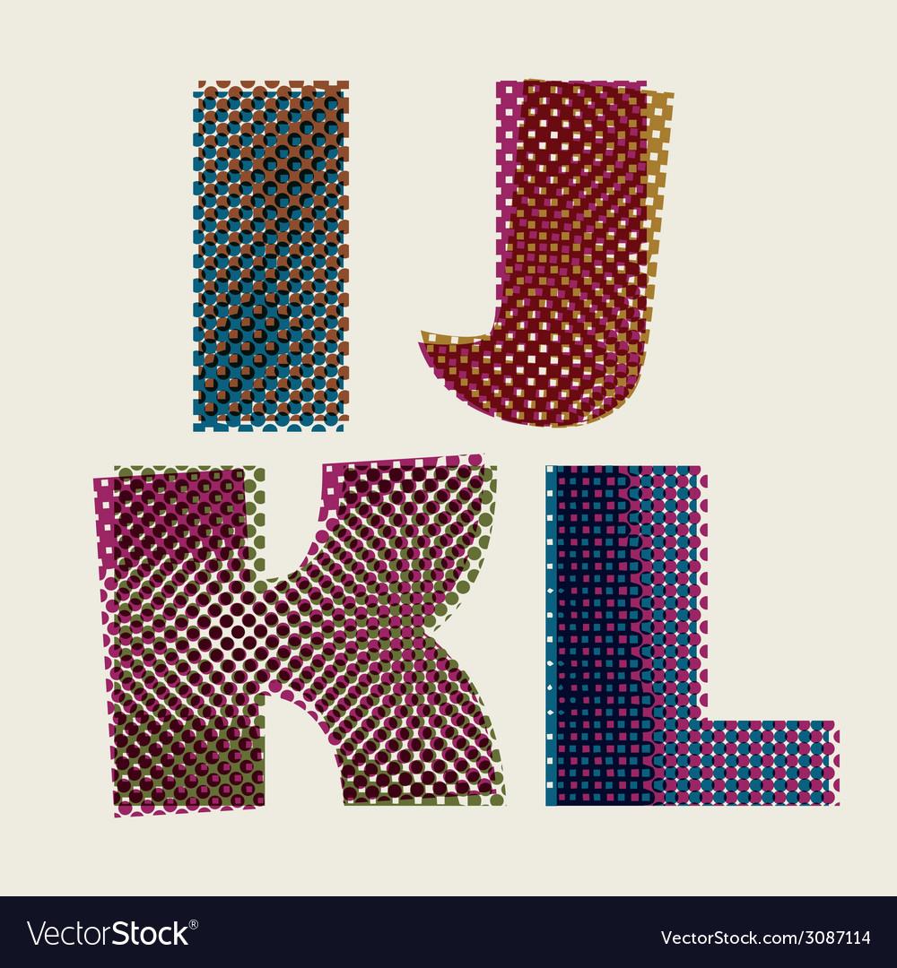 Halftone dots font dirty grunge color pixels print vector | Price: 1 Credit (USD $1)