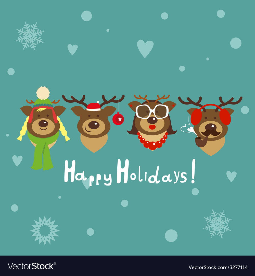 Holiday post card with deer family vector | Price: 1 Credit (USD $1)