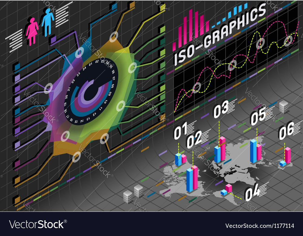 Infographic flower histogram set elements in vector | Price: 1 Credit (USD $1)