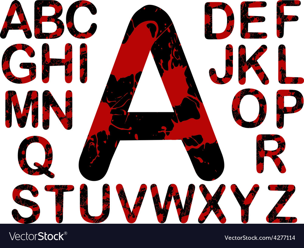 Letters black and red splats vector   Price: 1 Credit (USD $1)