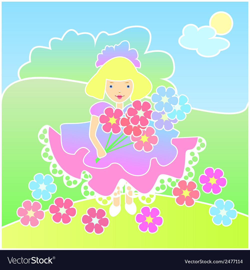 Little girl with flowers on the meadow vector | Price: 1 Credit (USD $1)