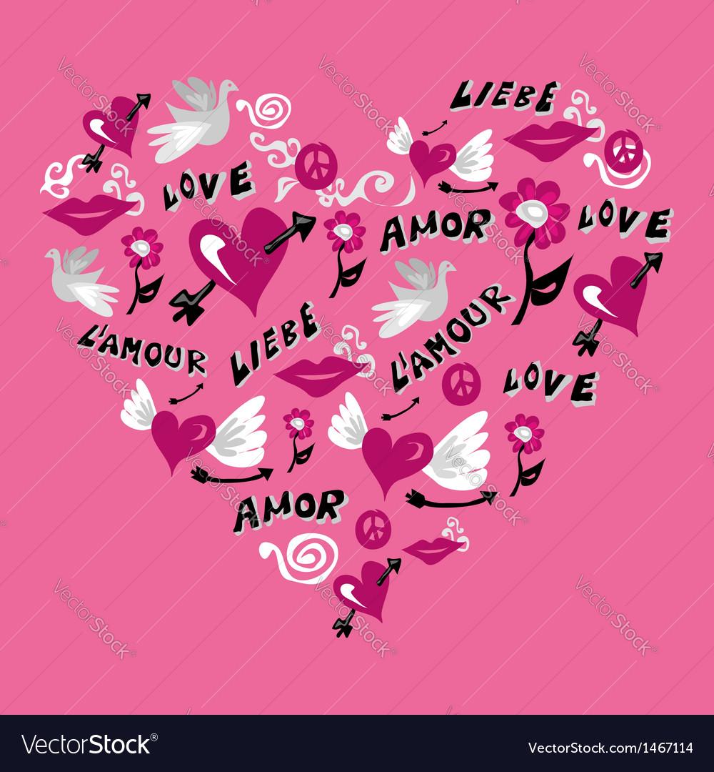 Love symbols heart shape vector | Price: 1 Credit (USD $1)