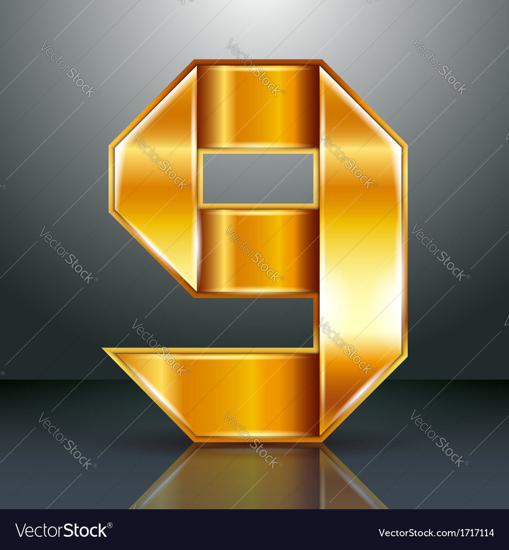 Number metal gold ribbon - 9 - nine vector | Price: 1 Credit (USD $1)