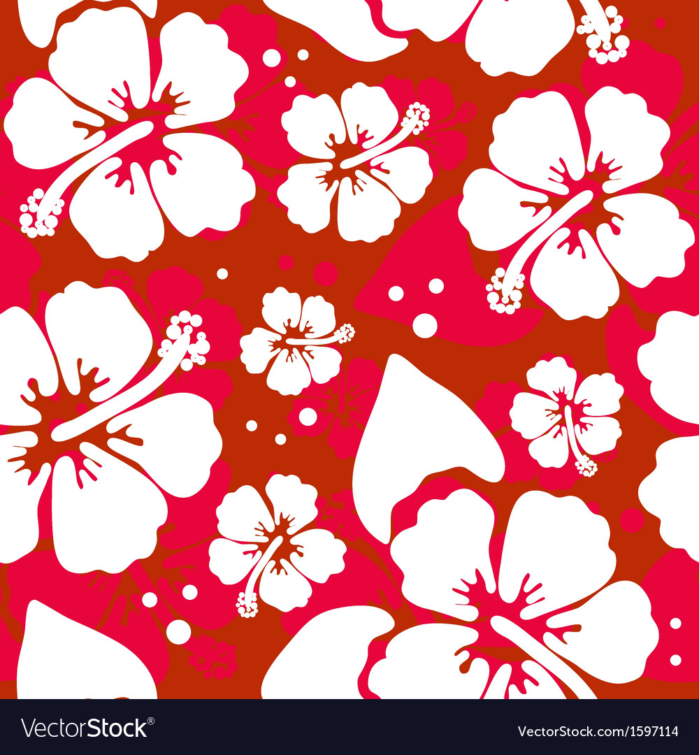 Seamless pattern with hawaiian hibiscus flower vector | Price: 1 Credit (USD $1)
