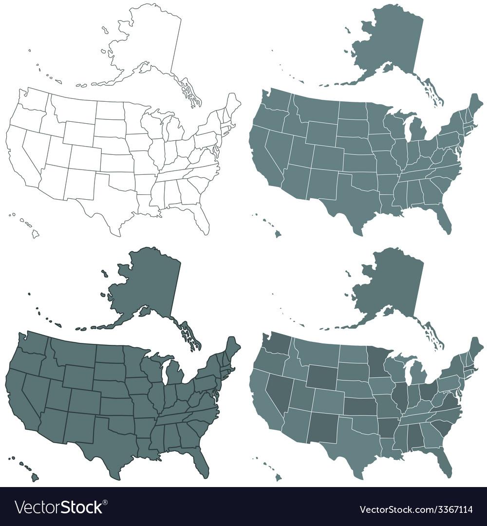 Usa map set vector | Price: 1 Credit (USD $1)