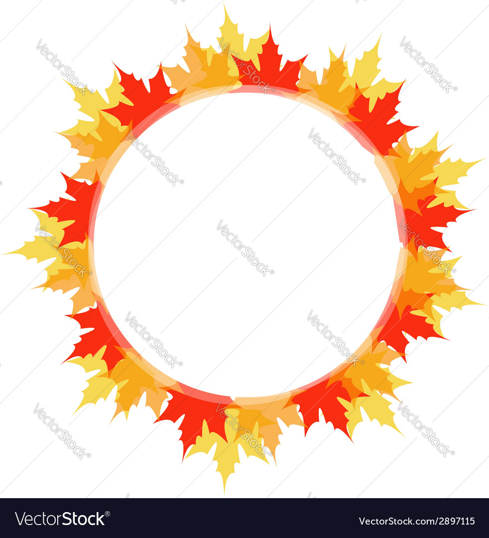Artwork or frame with red and yellow maple leaves vector | Price: 1 Credit (USD $1)