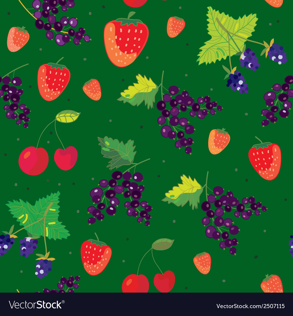Berries seamless pattern - strawbery blackberry vector | Price: 1 Credit (USD $1)