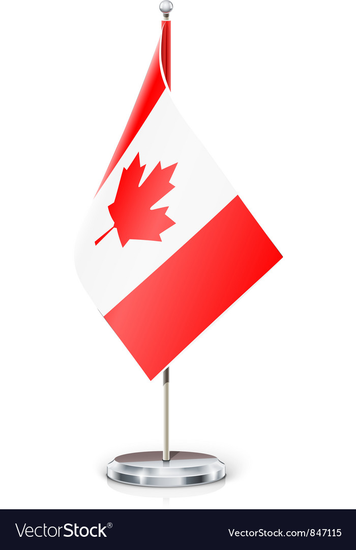 Canadian flag on flagstaff vector | Price: 3 Credit (USD $3)