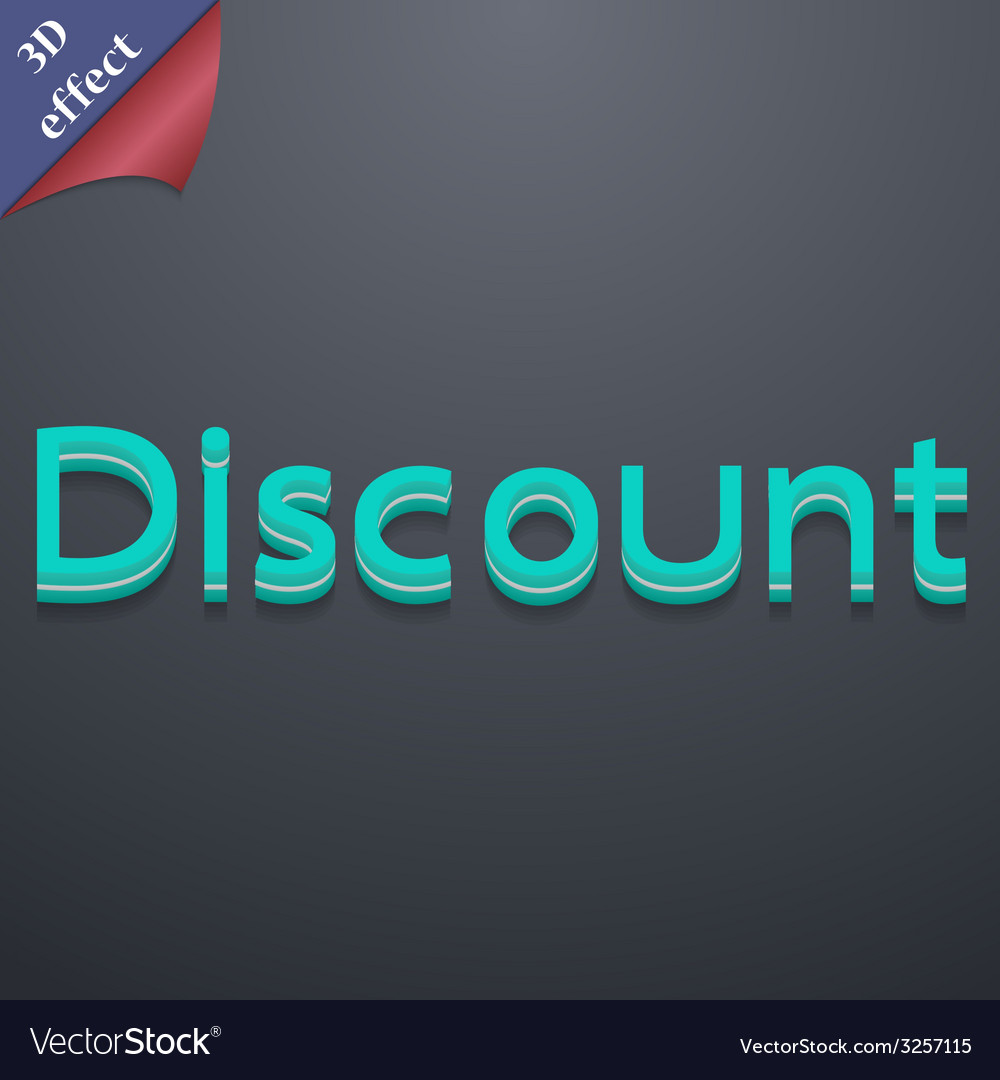 Discount icon symbol 3d style trendy modern design vector | Price: 1 Credit (USD $1)