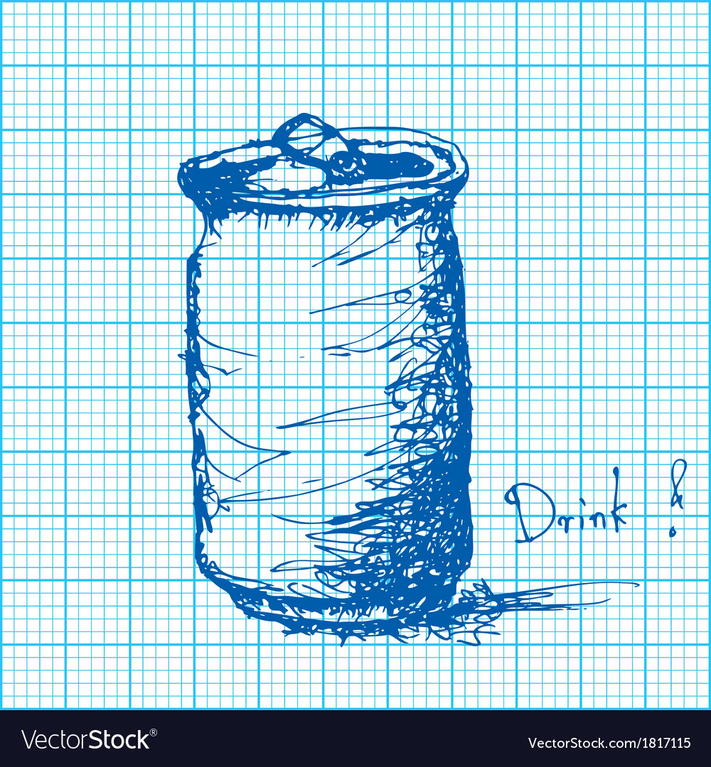 Drawing of soda can on graph paper vector | Price: 1 Credit (USD $1)