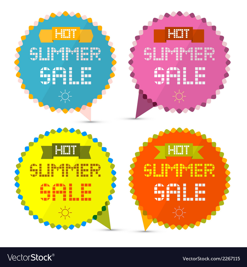 Hot summer sale paper retro labels set vector | Price: 1 Credit (USD $1)