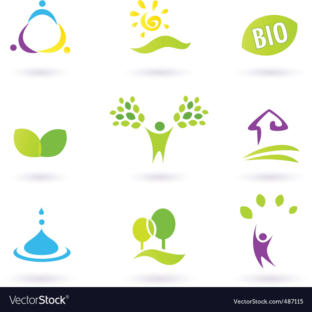 Nature ecology  bio icons vector | Price: 1 Credit (USD $1)