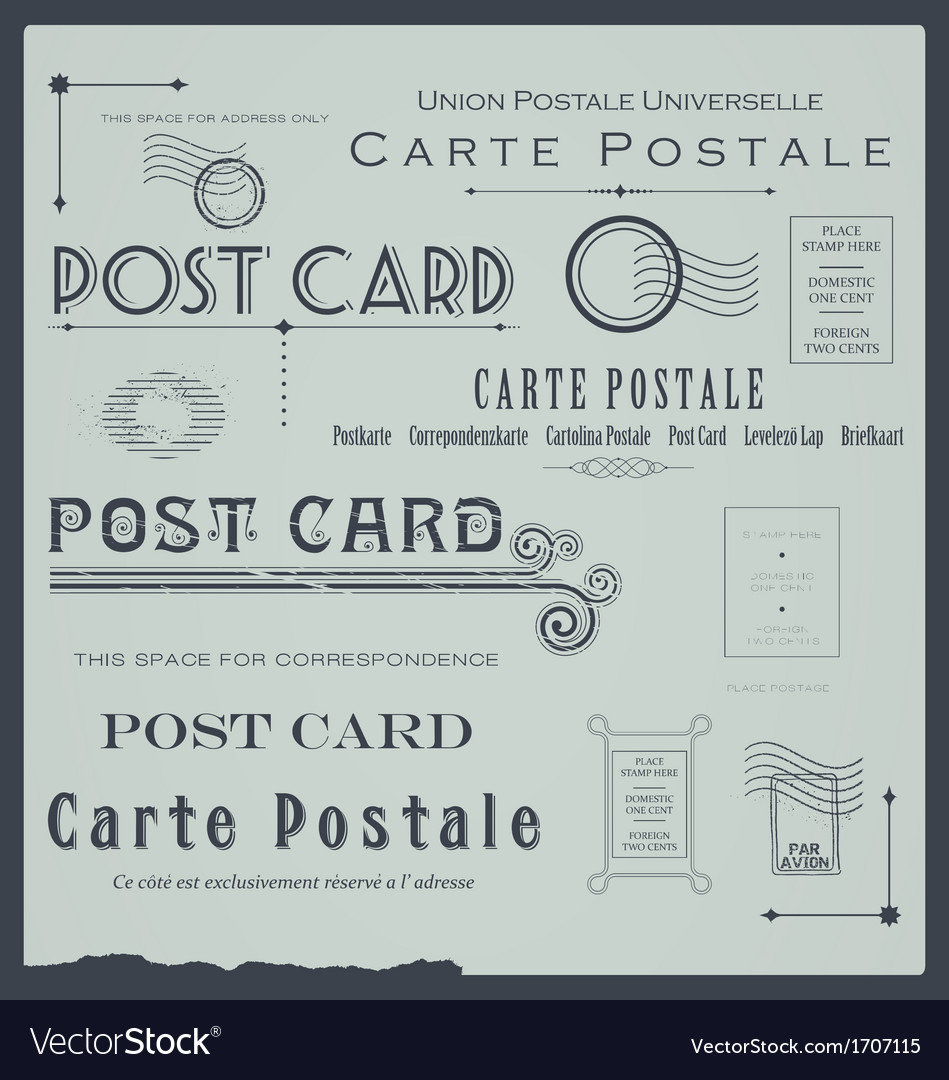 Postcard backside design elements collection vector | Price: 1 Credit (USD $1)