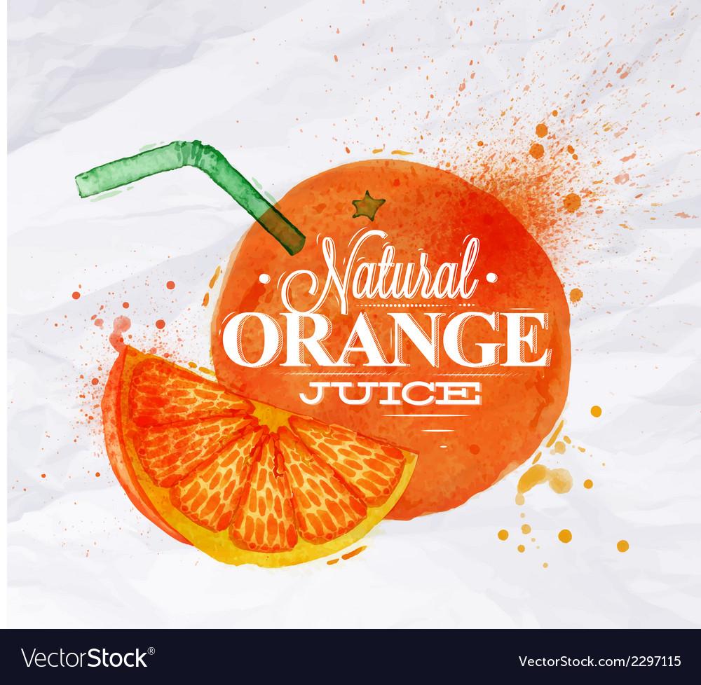 Poster watermelon orange vector | Price: 1 Credit (USD $1)