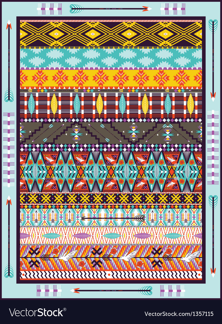 Seamless colorful geometric tribal vector | Price: 1 Credit (USD $1)