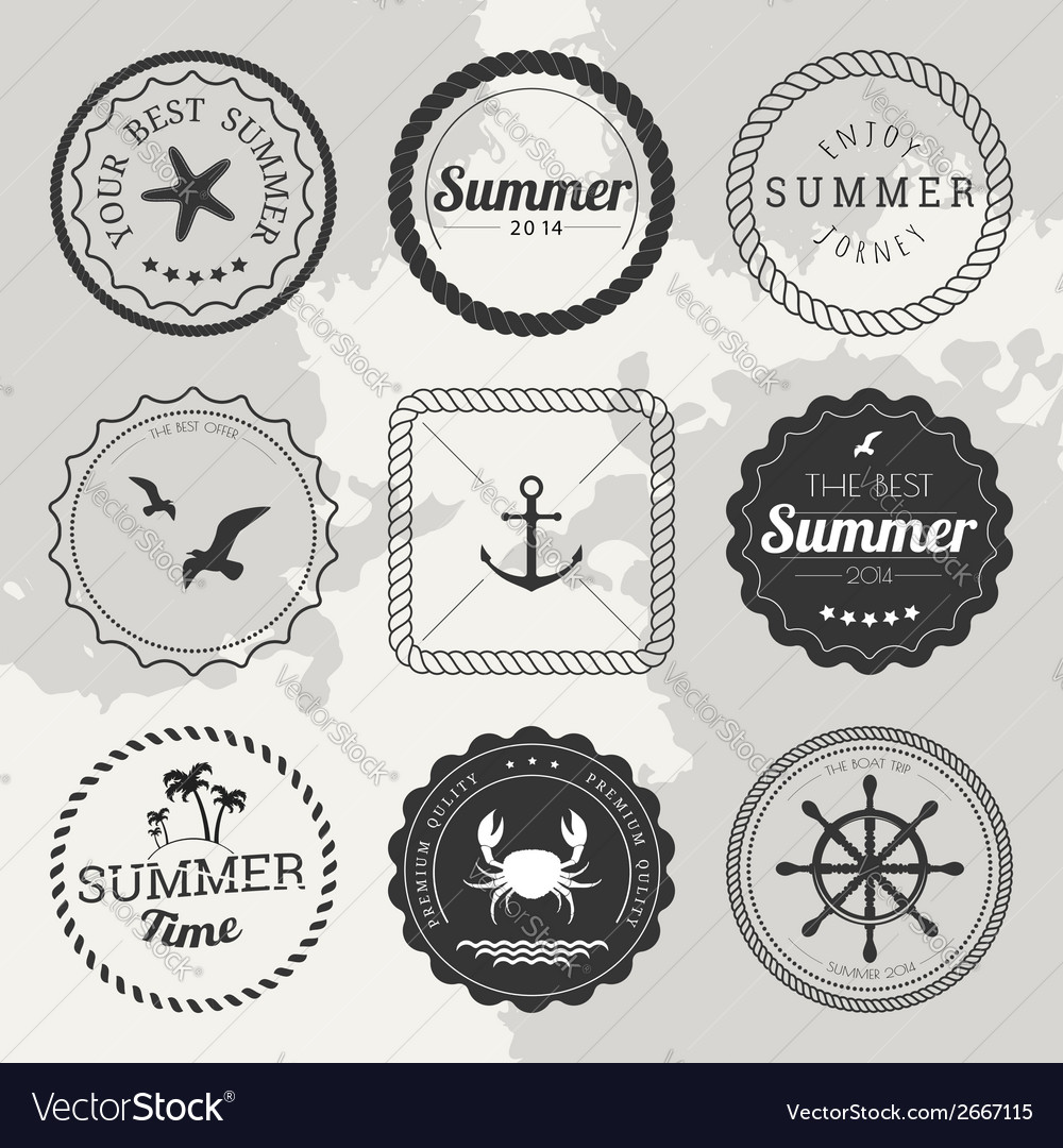 Set of 9 design summer elements frames borders vector | Price: 1 Credit (USD $1)
