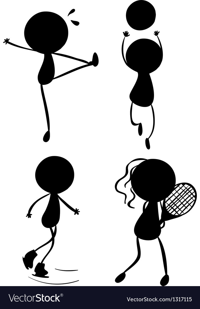 Silhouettes of people playing with the different vector | Price: 1 Credit (USD $1)