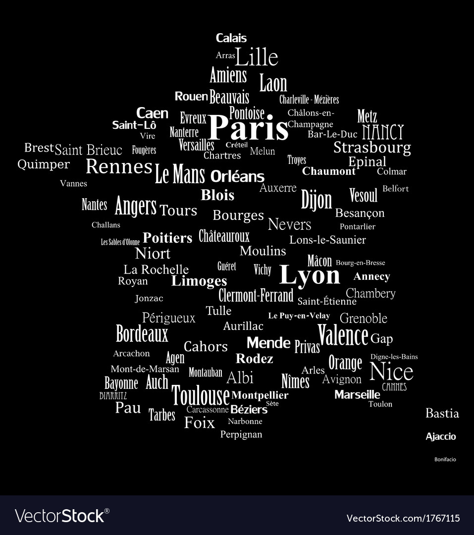 Text graphic france map vector | Price: 1 Credit (USD $1)