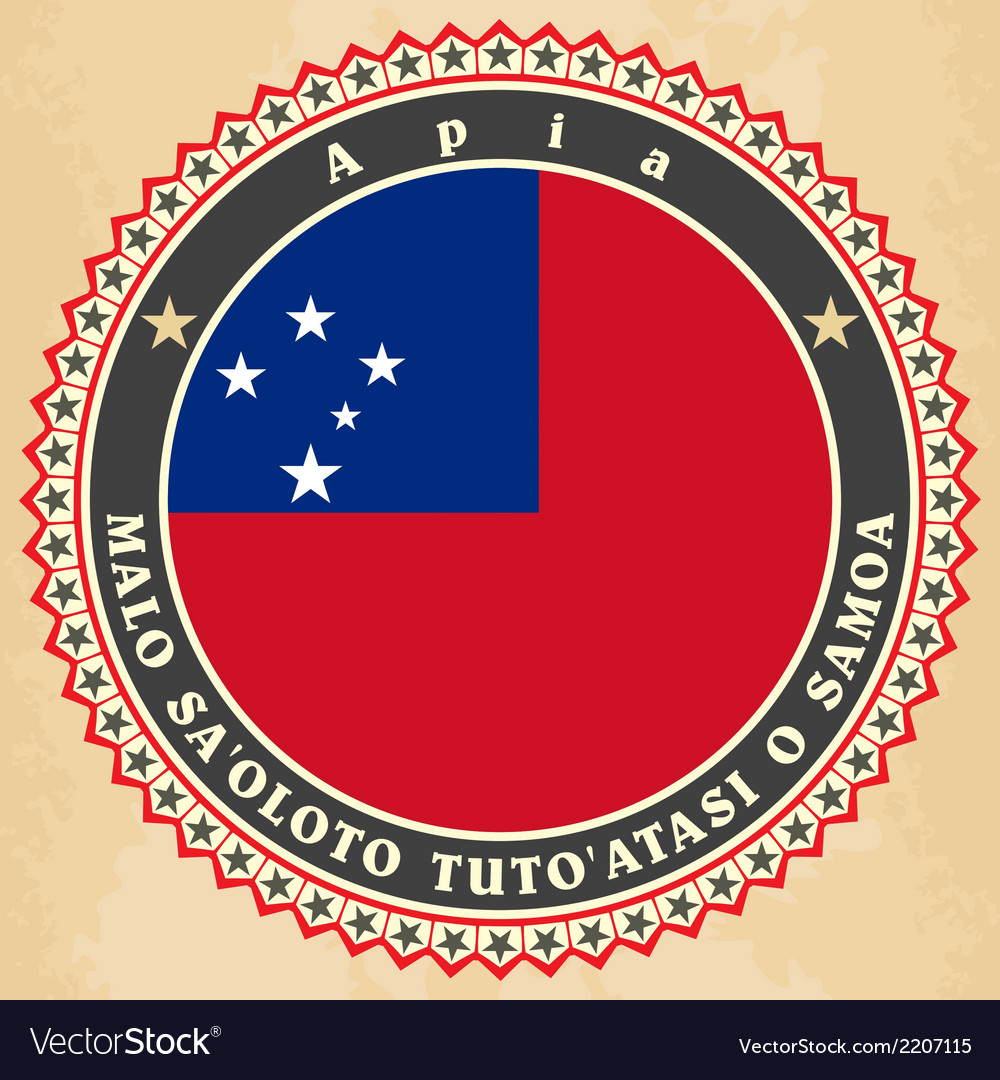 Vintage label cards of samoa flag vector | Price: 1 Credit (USD $1)