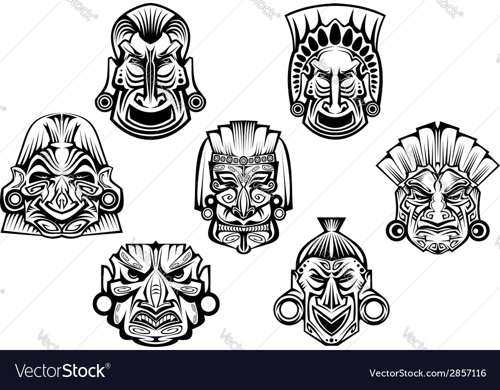 Ancient tribal religious masks vector | Price: 1 Credit (USD $1)